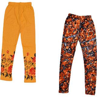 IndiWeaves Girls Cotton And Velvet Printed Leggings (Pack Of 2)