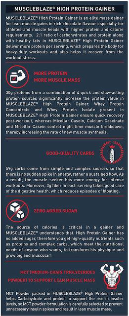MuscleBlaze High Protein Lean Mass Gainer, 11 lb Chocolate