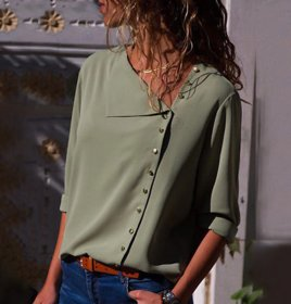 Fashion Long Sleeve Women Green Blouses and Skew Collar Solid Top
