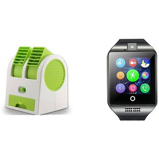 Air conditioner Mini cooler and Q18 Smart Watch comaptiable with all Smart phone  || Mini cooler|| Mini Air conditioner || Mini AC || Portable Fan|| Mini fresh Air cooler || High speed cooler