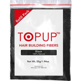 Topup Hair Building Fiber Refill Pack (Black 55gm) Hair Fiber For Hair Loss and Hair Damage