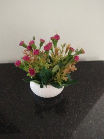 Artificial Dk.Pink Tiny Carnation in Oval Ceramic Pot