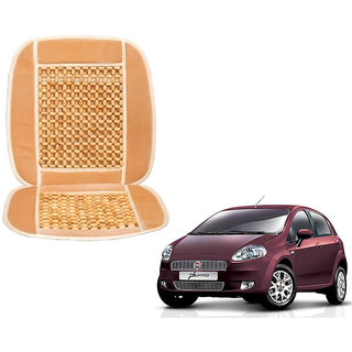 Auto Addict Car Seat Wooden Bead Seat Cover Cushion with Beige Velvet Border For Fiat Punto