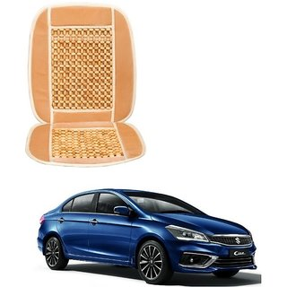 Auto Addict Car Seat Wooden Bead Seat Cover Cushion with Beige Velvet Border For Maruti Suzuki Ciaz Facelift