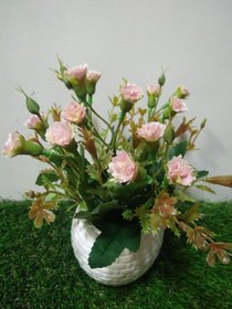 Artificial Peach Tiny Carnation in Oval Ceramic Pot