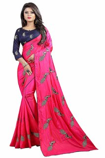 Michael Hillfire Women's Silk Embroidered Saree with Blouse Piece (PeacockMulticolour)