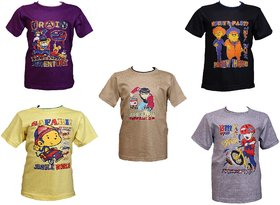 Pari  Prince Kids Muticolor cotton printed tshirt combo (Pack of 5) assorted colors