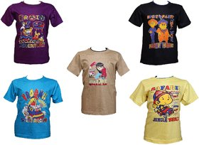 Pari & Prince Cotton Printed Boys T-Shirts Pack of 5 (Assorted Colors)