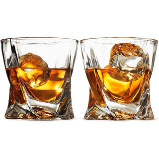 Fancy Craft Hot selling Twist Whiskey Glasses Rocks glasses for Scotch or Bourbon Set of 2