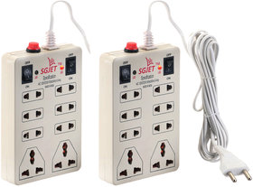 Combo SGJET 8 plug point 2 Swiches Extension Strip with 6 Amp Fuse Protector - Pack of 2
