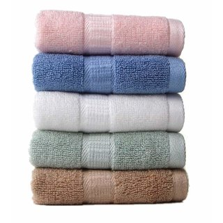 MD Multicolor Cotton Solid Face Towels - Set of 5 (Assorted)