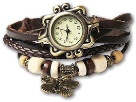 Ravishing Unique Designer Vintage Leather Dark Blue Butterfly Bracelet Watch for Girls, Women