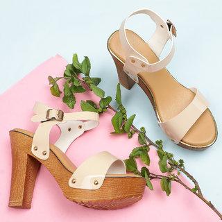 Sindhi Footwear Women's Cream Rexin Casual Heel Sandals