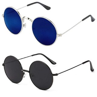 Meia Combo Of Blue And Full Black Round Sunglasses For Mens Womens Boys And Girls