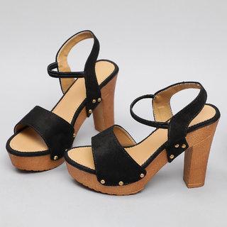 Sindhi Footwear Women's Black Rexin Casual Heel Sandals