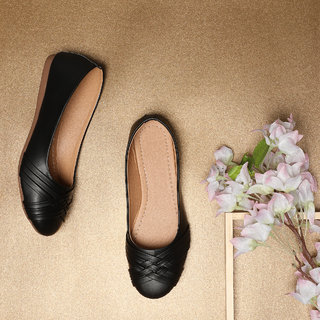 Sindhi Footwear Women's Black Rexin Casual Ballerinas