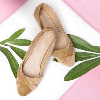 Sindhi Footwear Women's Cream Rexin Casual Ballerinas