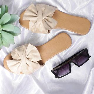 Sindhi Footwear Women's Cream Rexin Casual Flat Slip-on