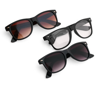 Pack of 3 Wayfarer Sunglasses(Black/BrownClear)