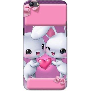 Ezellohub Printed Hard Mobile back cover for Oppo F3 - bunny couple