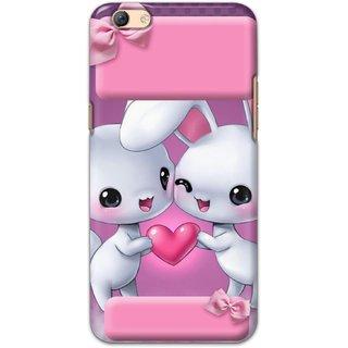 Ezellohub Printed Hard Mobile back cover for Oppo F3 Plus - bunny couple