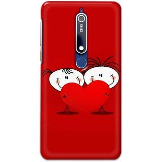 Ezellohub Printed Hard Mobile back cover for Nokia 6.1 - cute couple