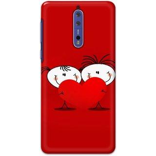 Ezellohub Printed Hard Mobile back cover for Nokia 8 - cute couple