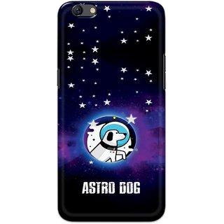Ezellohub Printed Hard Mobile back cover for Oppo F3 - astro dog