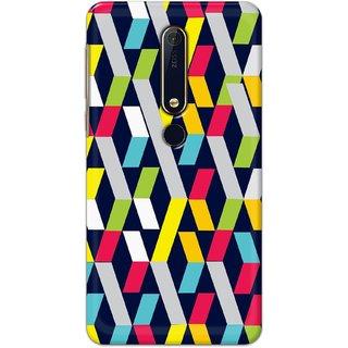 Ezellohub Printed Hard Mobile back cover for Nokia 6.1 Plus - ribbon square