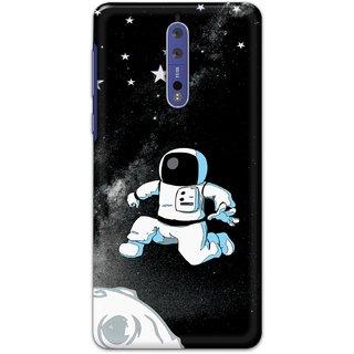 Ezellohub Printed Hard Mobile back cover for Nokia 8 - astro black