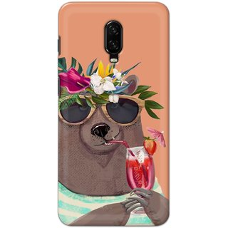 Ezellohub Printed Hard Mobile back cover for One Plus 6t - summer bear
