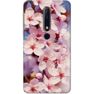 Ezellohub Printed Hard Mobile back cover for Nokia 6.1 Plus - white flower