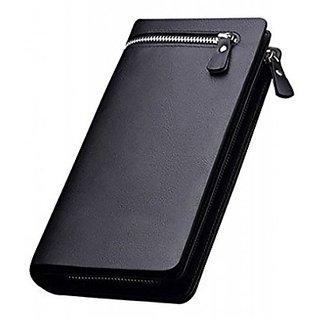 Men And Women Designer Long Black Zipper Multi Card holder Wallet (Black)