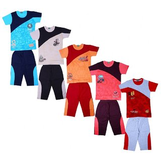 Kavin's Cotton Three-Fourth Pant with Matching Tees for Boys, Pack of 5, Multicolored-Cassio