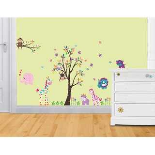 Asmi Collections Wall Stickers Cute Animals Birds and Butterfly Around a Tree