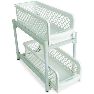 House of Quirk 15 Versatile 2 Tier Portable Sliding Basket Drawers Storage Cabinet Box Plastic Kitchen Trolley