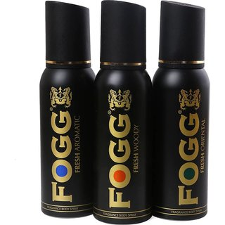 fogg collection fresh spicy deo body spray for men pack of (3) pcs