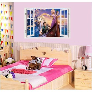 Asmi Collections PVC Rapunzel and Prince Window Illusion Wall Stickers