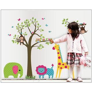 Asmi Collections Wall Stickers Tree Giraffe Owl Monkey Tiger Elephant