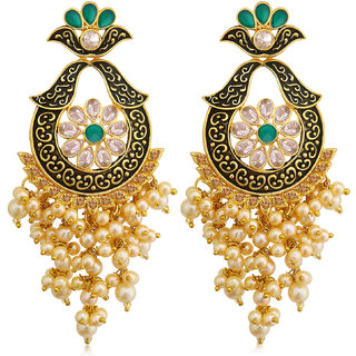 Sukkhi Spectacular LCT Gold Plated Pearl Meenakari Chandelier Earring For Women