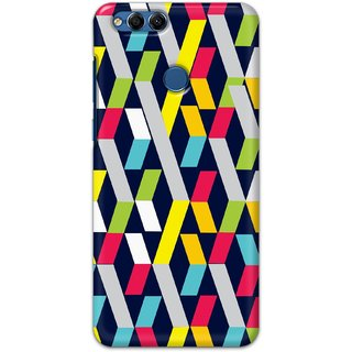 Ezellohub printed soft silicon mobile back case cover for  Huawei Honor 7X - ribbon square