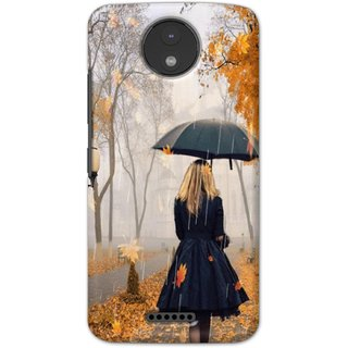 Ezellohub printed soft silicon mobile back case cover for  Motorola Moto C Plus - alone girl
