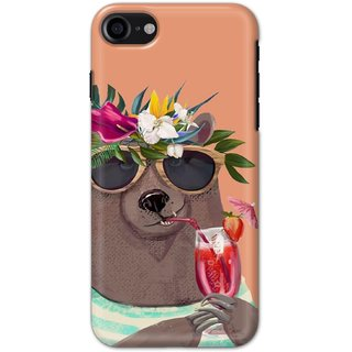 Ezellohub printed soft silicon mobile back case cover for   Iphone 8 - summer bear
