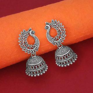 Meia Oxidised Plated Peacock Jhumki Earrings