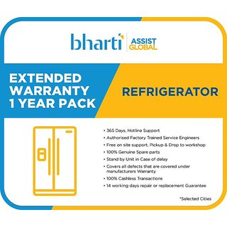 Bharti Assist Global Private Limited 1 Year Extended Warranty for Refrigerator between Rs. 15001 to Rs. 20000