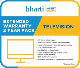 Bharti Assist 2 Years Extended Warranty for TV (Rs.1/- to Rs.18000/-)