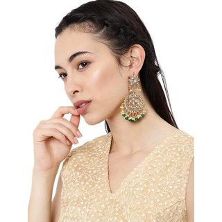 Zaveri Pearls Ethnic Kundan  Green Beads Dangle Earring For Women-ZPFK8668