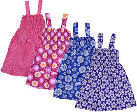 Kavya Baby Girls Cotton Sleevless Printed Frock  (Pack Of 4)