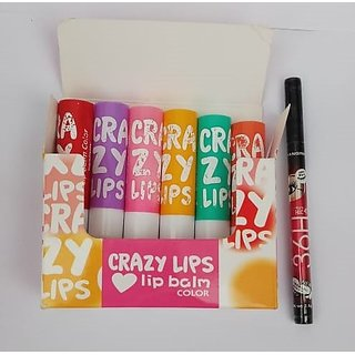 7 Heaven's Crazy Lips 6 Lip Balm Natural Flavour (6 G ) With Sketch Pen Eyeliner