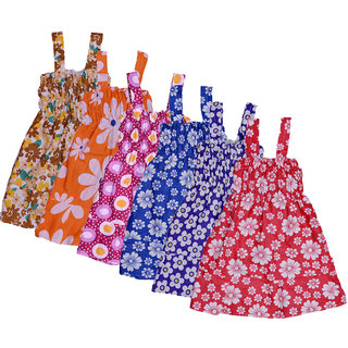 Kavya Baby Girls Cotton Sleevless Printed Frock  (Pack Of 6)